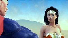Супермен трахает красотку Чудо женщину